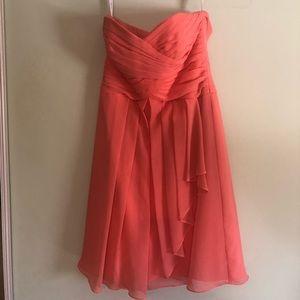 David's bridal short coral dress (size 4)